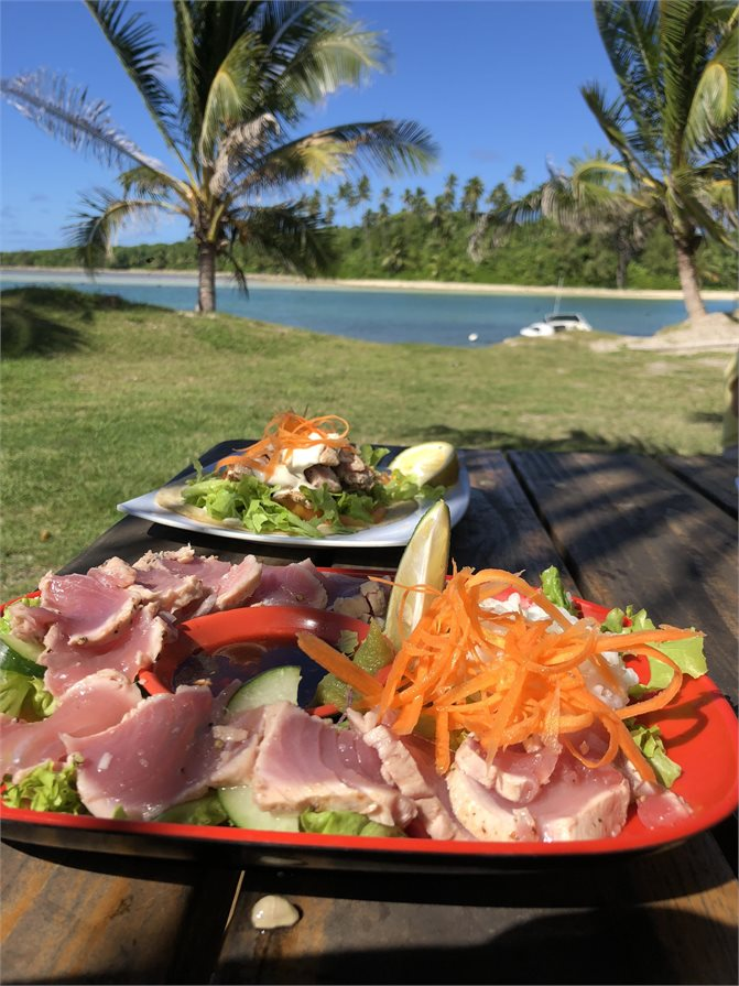 Fresh seafood at The Moorings Rarotonga