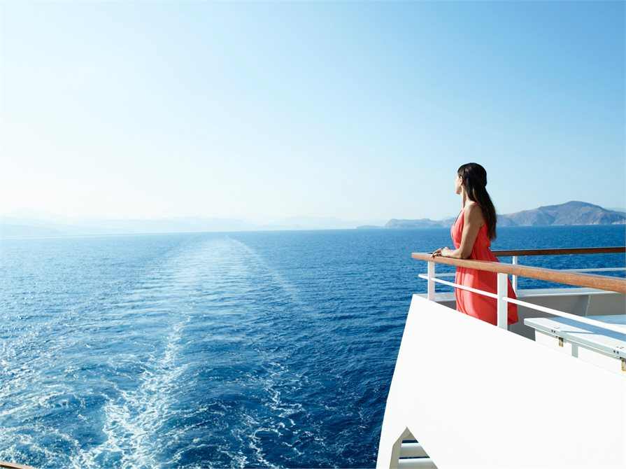 looking out towards the sea on board a cruise ship