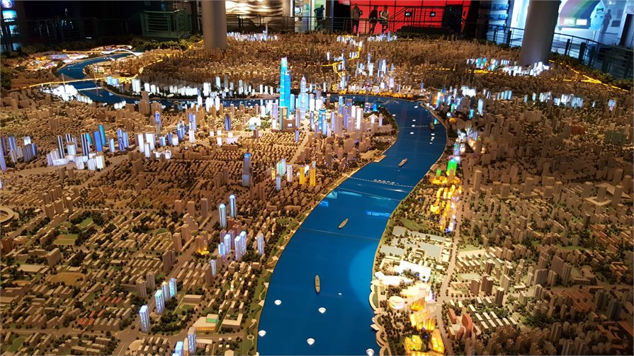large-scale model of urban Shanghai in the Shanghai Urban Planning Exhibition Centre