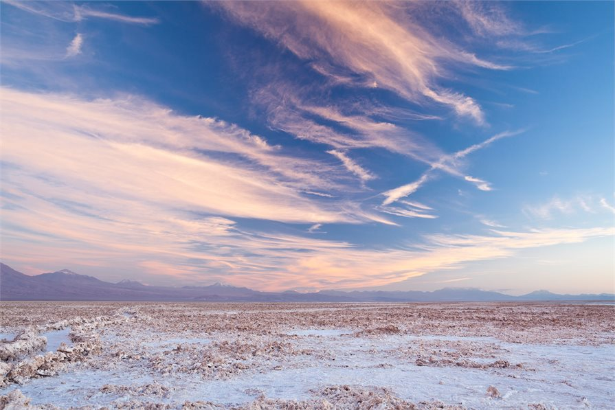 Viewing the sunset from the salt lakes in the Atacama desert in Chile