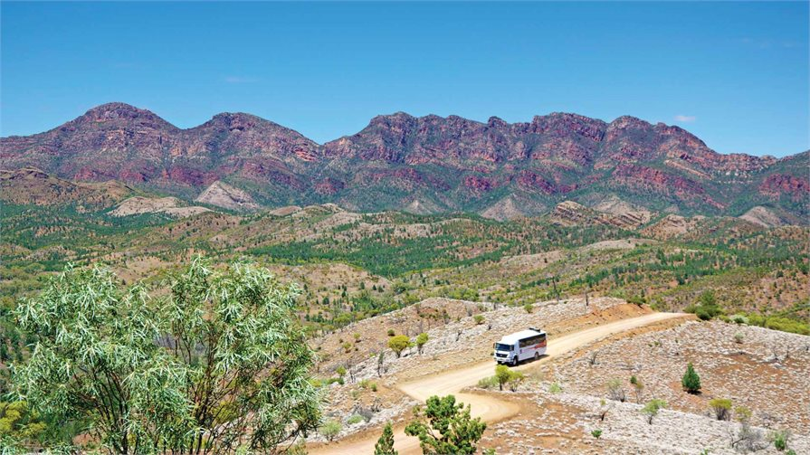 Flinders Ranges mountains with 4wd vehicle