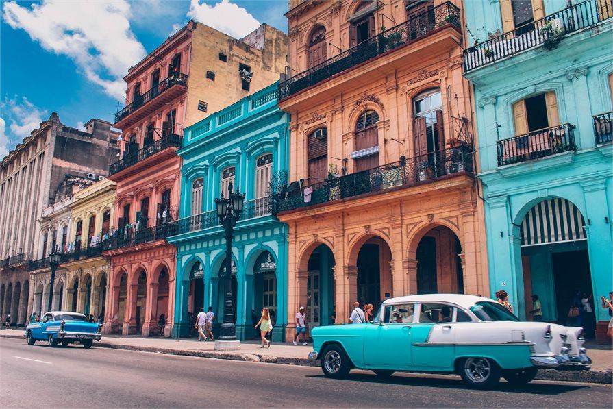 old blue car on street Havana Cuba