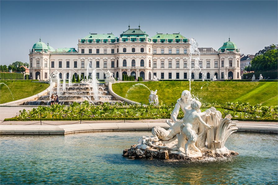 fountain outside of old building in Vienna Austria