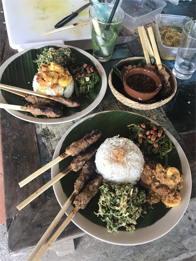 The food we cooked at the Hujan Cooking School