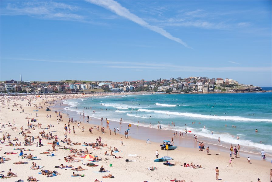 people sunbathing on Bondi beach Australia