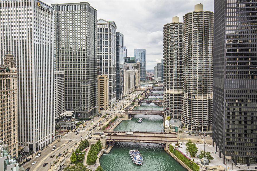 View of Chicago river and bridges