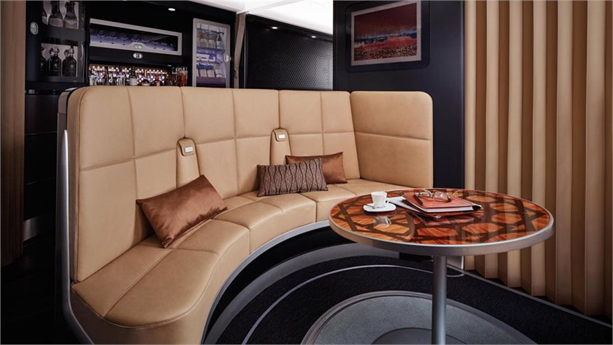 lounge area in new Etihad Business Class