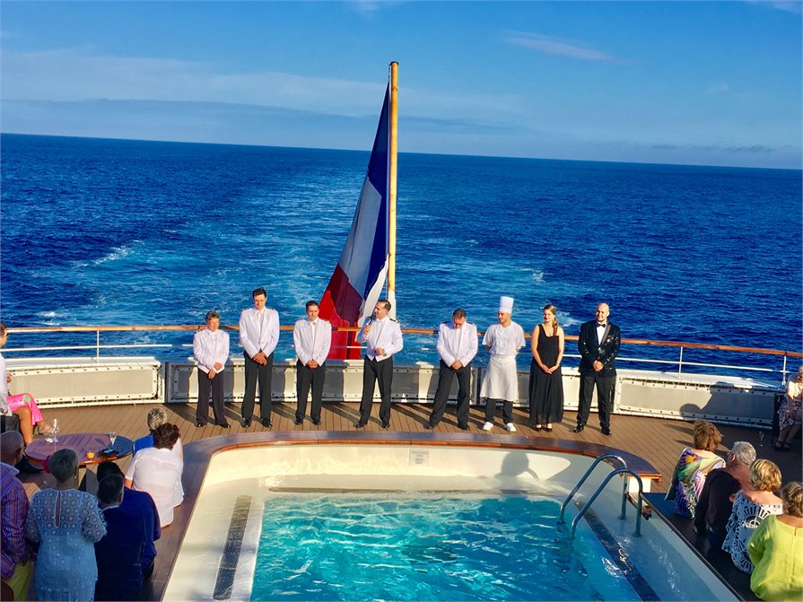 Staff presentation on the back of Ponant's L' Austral