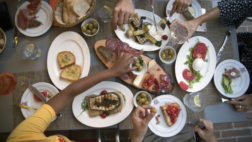 People enjoying some food