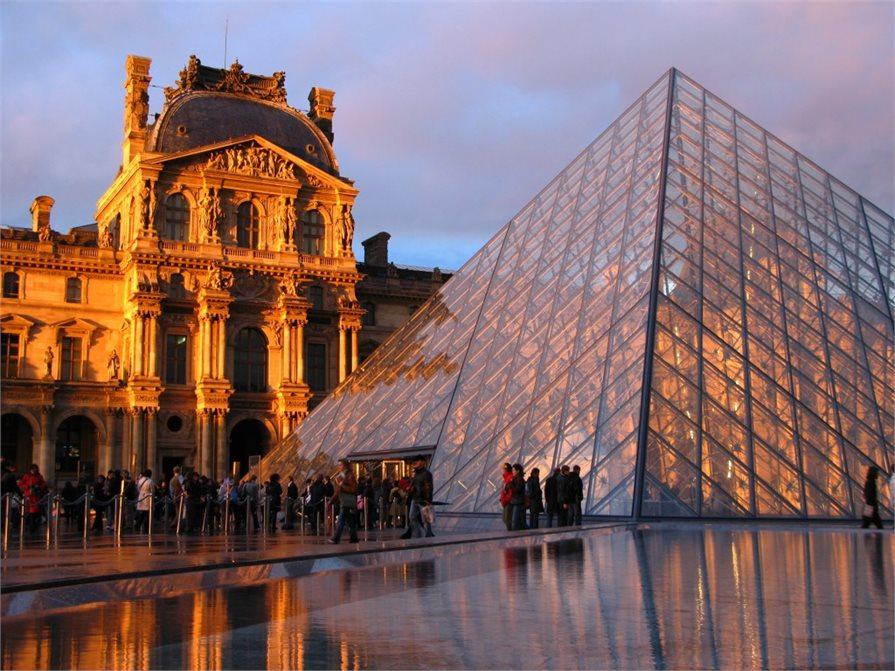 Glass pyramid outside The Louvre Paris France