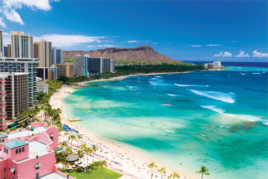 View of Waikiki beach and Diamond head