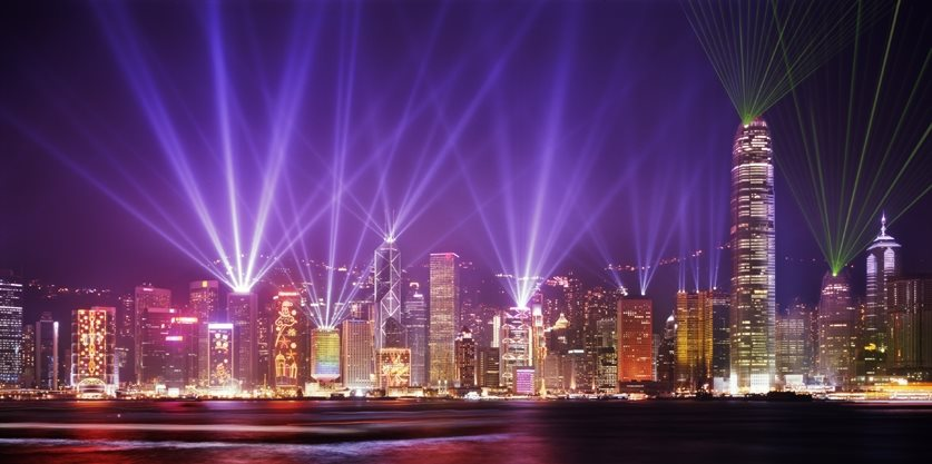Symphony of lights show that occurs in Hong Kong's harbor