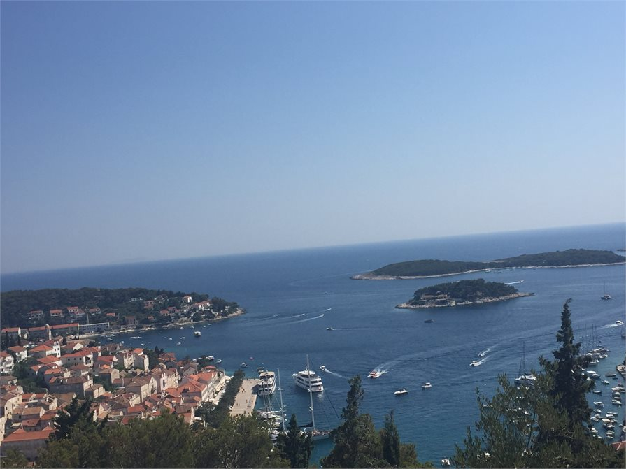 View of the harbor in Hvar Croatia from the castle on the hill