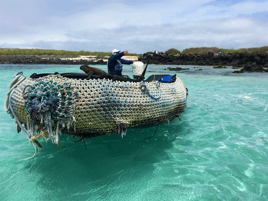 fisherman's boat Galapagos Islands Iguana
