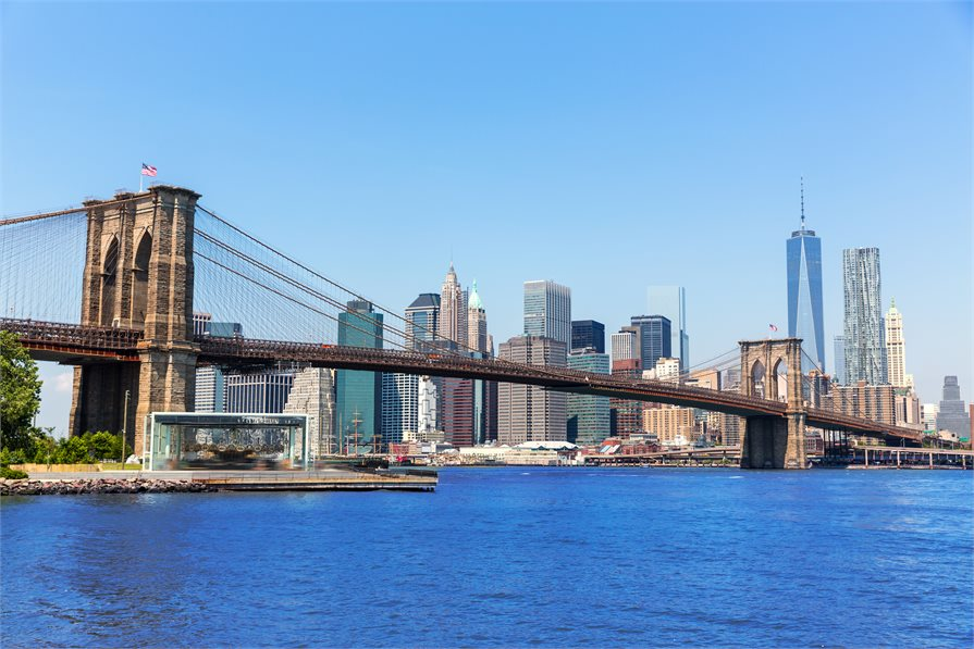 view of Brooklyn Bridge with New York in the Background