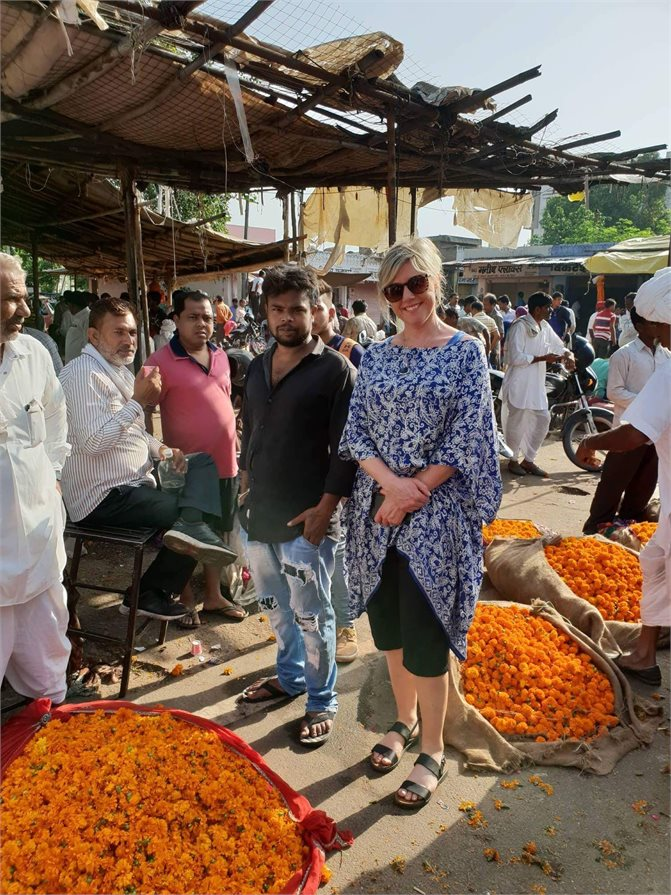 Jacqui Currall at Jaipur flower market
