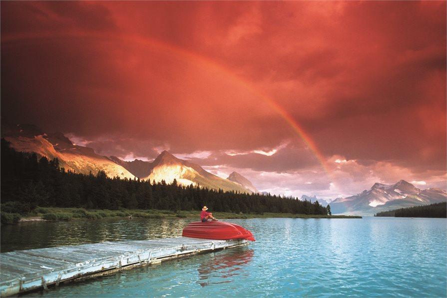 Rainbow in Jasper National Park