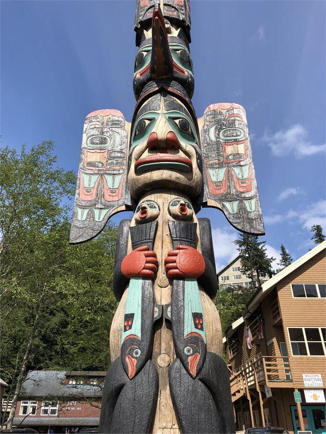 Totem pole in Ketchikan Alaska