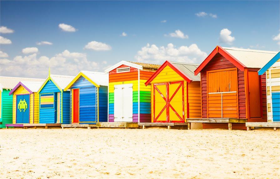 Brighton Beach colourful beach houses