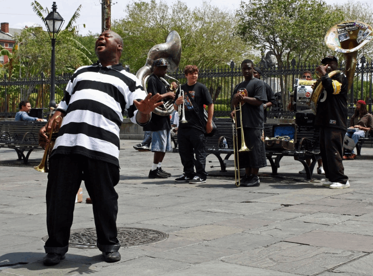 Live band performing on the street in New Orleans