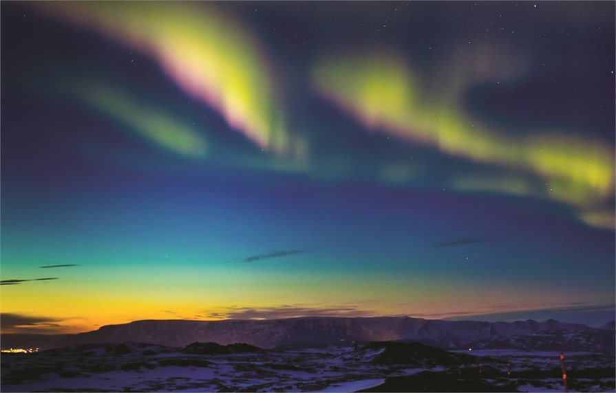 Northern lights across the sky in Norway
