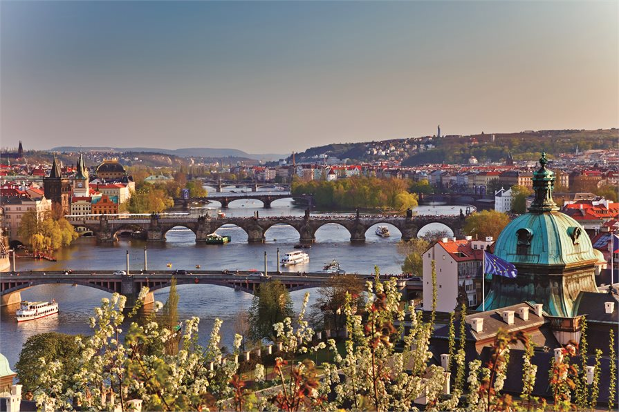 River and bridge view in Prague Germany