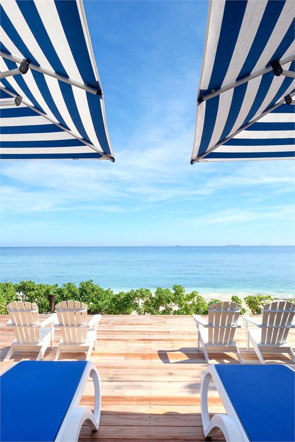Sun loungers at Fiji's Malamala Beach Club