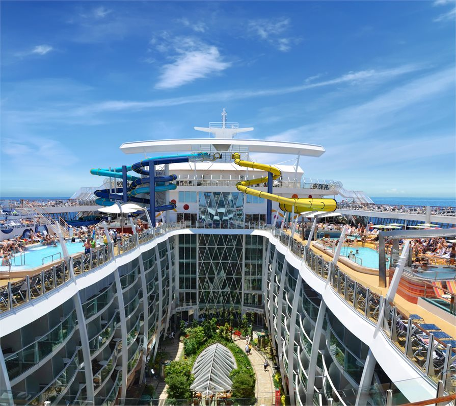 Hydro slides and pools onboard Royal Caribbean's Allure of the Seas