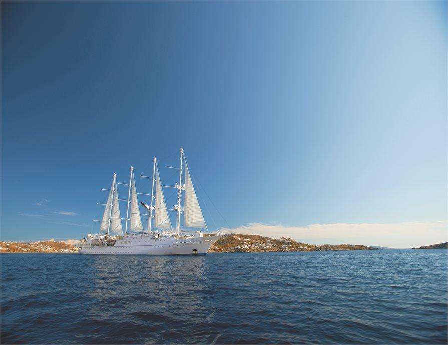 Wind Star cruise ship in the Aegean Sea, Greece