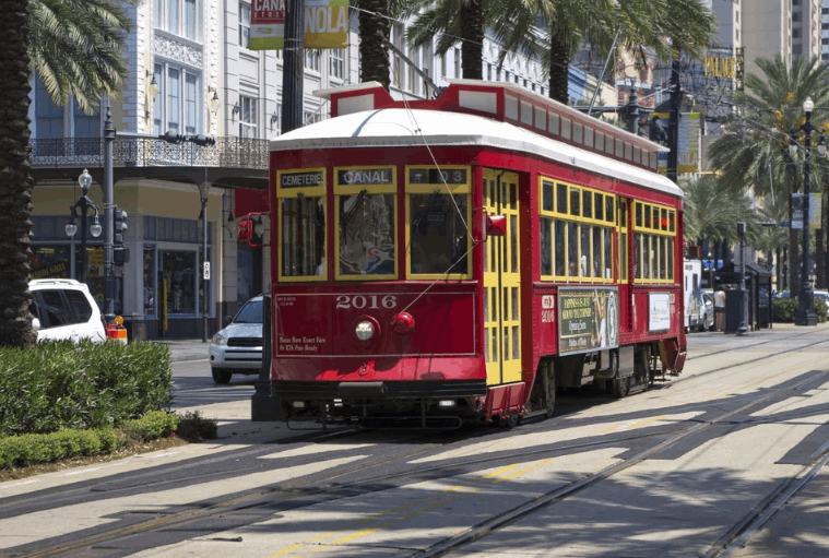 Red street car in New Orleans