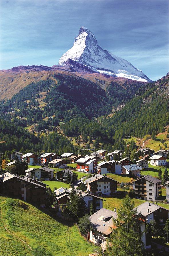 Village under Matterhorn on a sunny day