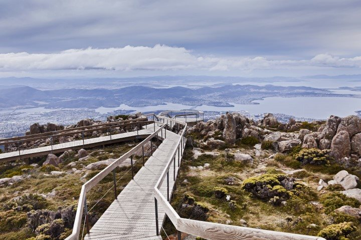 view of board walk from the top of Mount Wellington