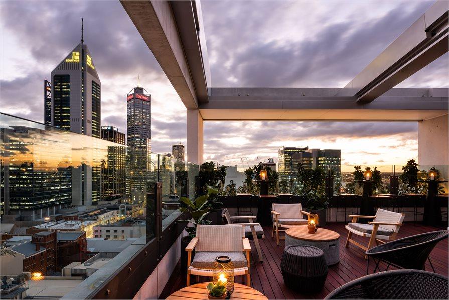 QT Perth Rooftop bar view