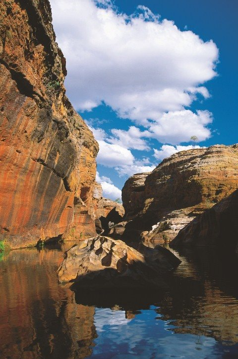 stream along a cliff face in the Queensland Outback