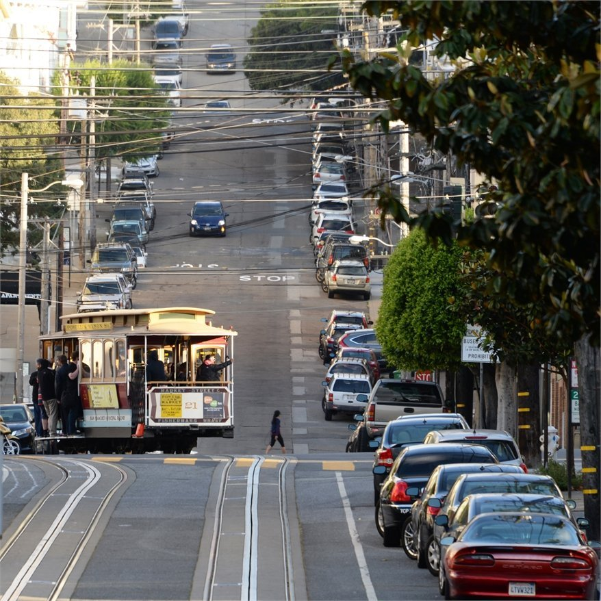 Trams through the streets of San Francisco