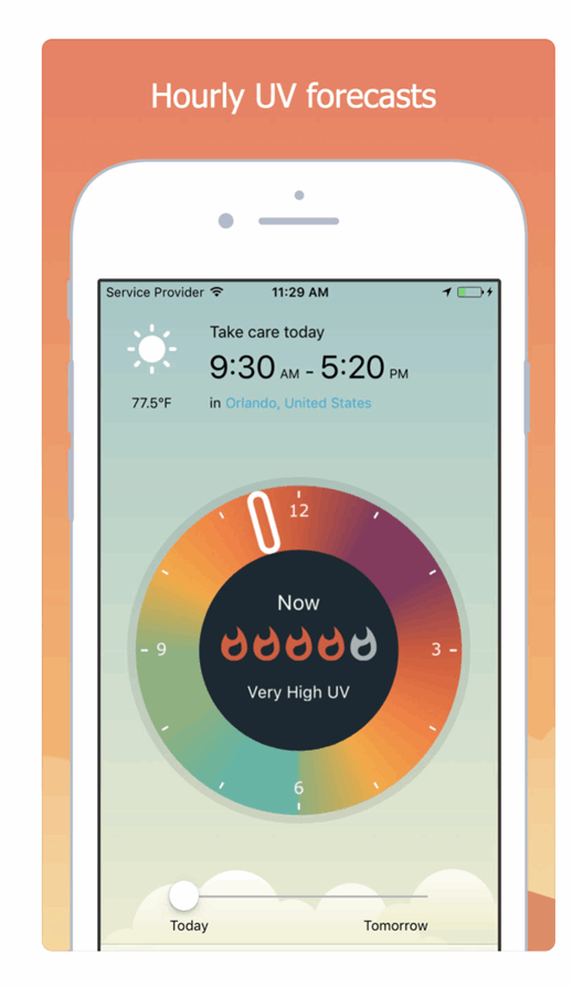 UVLens app showing UV levels at your location for specific times of the day