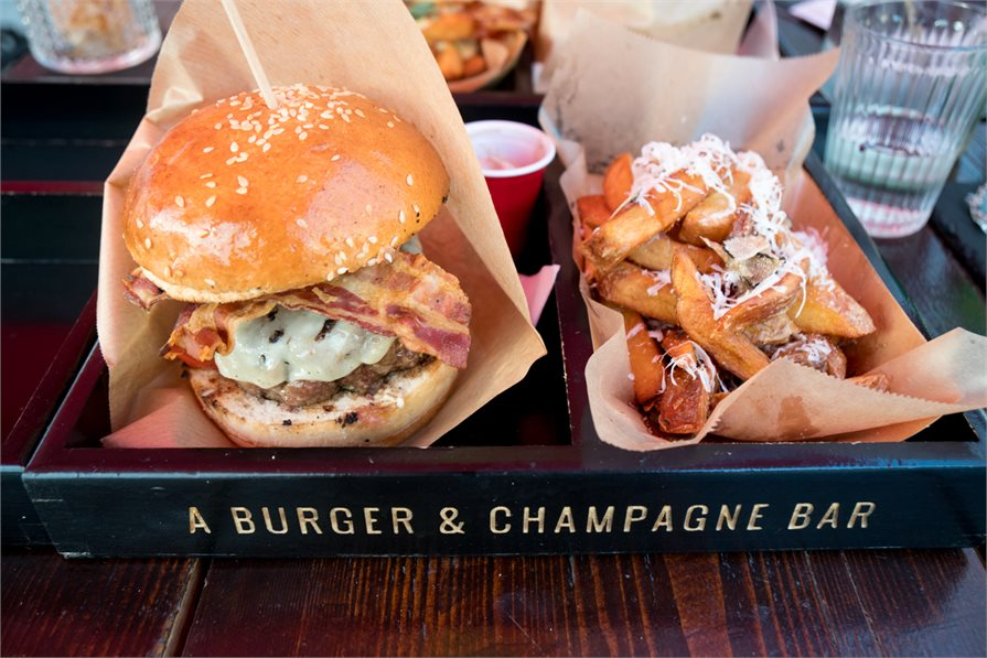 Food at the 50, A Burger & Champagne Bar