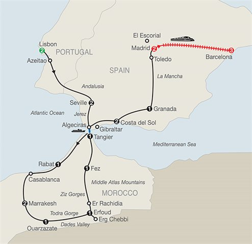 Map Of Spain Portugal And Morocco.Globus Spain Portugal And Morocco Helloworld Travel Nz